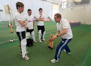 Bapchild's Josh Hunt, Nick  Page and Alex Ward receiving a Masterclass from Andy Flower