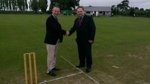 The Chairman and Basher's Captain Eric Philips toss the coin for the first match