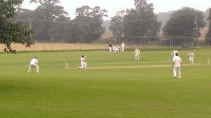 "Josh on his way to a ""Flake and Strawberry Sauce"" 99 at Street End - part of the 391 runs scored off 40 overs by the team"