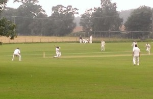 """Josh on his way to a """"Flake and Strawberry Sauce"""" 99 at Street End - part of the 391 runs scored off 40 overs by the team"""