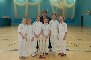 The Girl's team and Youth Development Manager Richard Archbold, at the U13 Cricket Festival