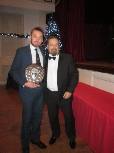 Owen Harrison receives the 2017 Young Player of the Year award from 3rd team Captain Adrian Philips