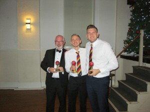 Rob Kennett, Matt Lewis and Brain Carey on behalf of Tom Carey receive their mounted maiden century balls - 2018