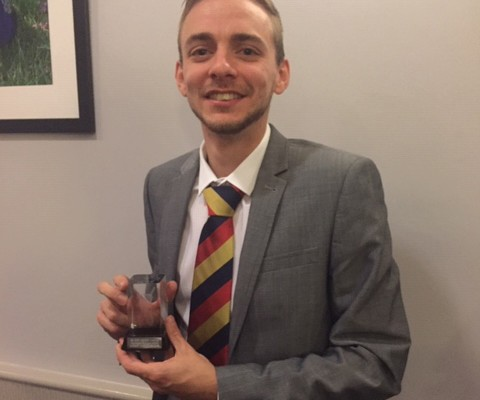 Rob Kennett receiving the KCL Batting Award 2018 at the League presentation evening November 2018
