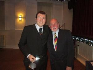 Ricky Dale receives the Batting Award for 2019 (581 runs) from Vice President Steve Harrison