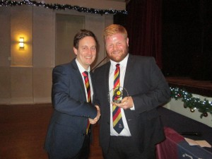 Lee Cogger receives the 2nd XI Captain's award 2019 from 2nd XI Captain James Sutton