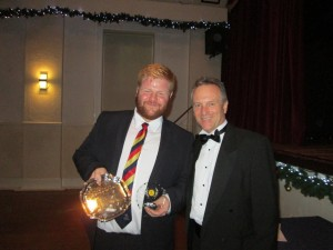 James Sutton receives the Cricketer of the Year 2019 from The Chairman